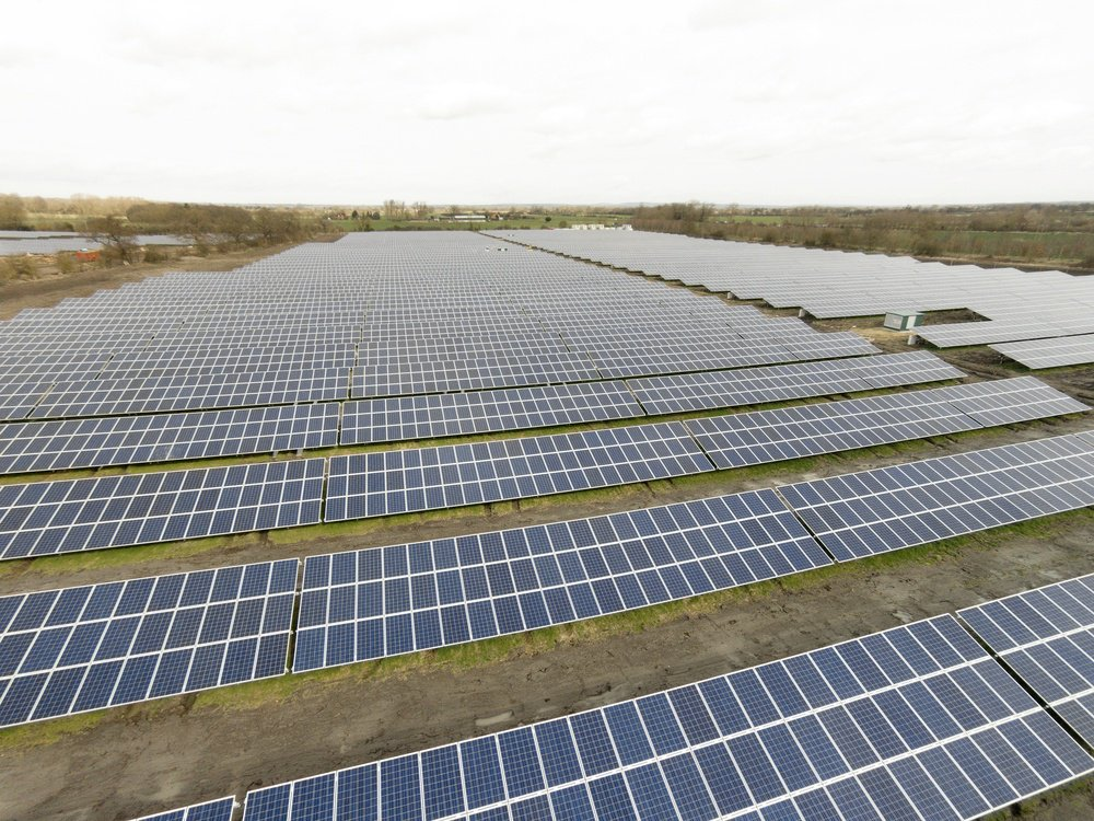 large solar farm in England producing electricity