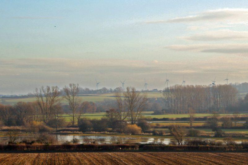 Severe Flooding, Against a Background of Wind Turbines: November 2012, Tyringham, Bucks. (Image: T. Larkum)
