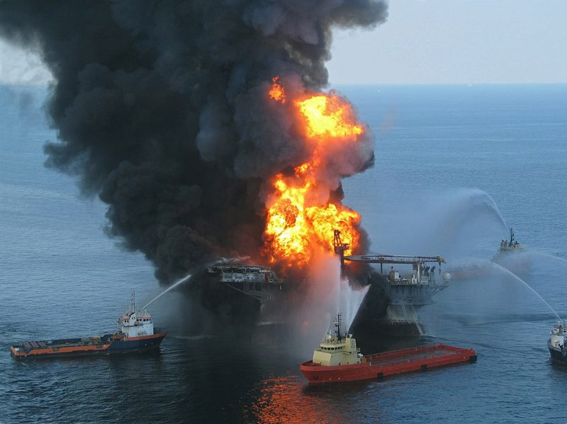 Anchor handling tugs and platform supply vessels combat the fire on the Deepwater Horizon while the U.S. Coast Guard searches for missing crew (Image: USCG)