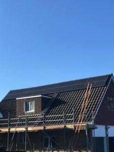 Solar panels going on, Mr HA, Hitchin (SG4), Herts.