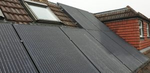 For Mr MC in North Sheen (SW14) we installed a combination of panels on a sloped roof with bird mesh